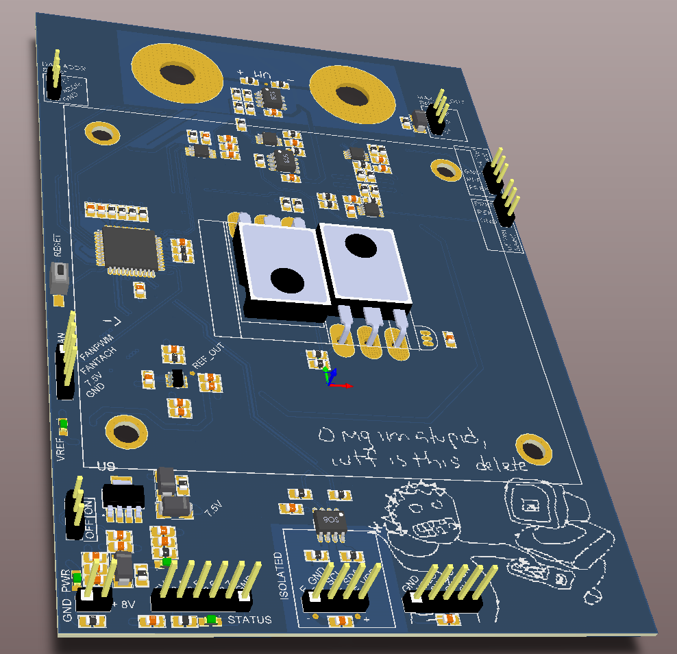 This is a 3D representation of the pcb. The silkscreen on the bottom right was requested by the customer.